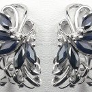 18K White Gold 0.10cts Diamond & 2.00cts Blue Sapphire Earring