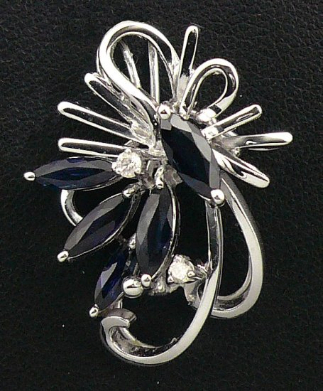 14K White Gold 0.06cts Diamond & 1.05cts Blue Sapphire Pendant
