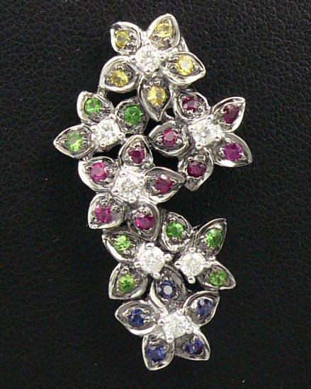 18K White Gold 0.28cts Diamond & 0.69cts Blue, Green, Pink, Yellow Sapphire Pendant