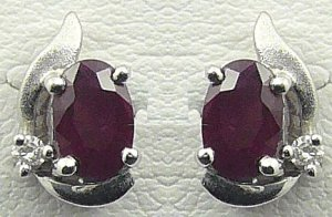 18K White Gold 0.04cts Diamond & 2.04cts Ruby Earring