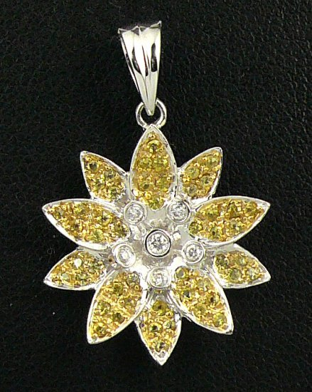 18K White Gold 0.07cts Diamond & 0.38cts Yellow Sapphire Pendant