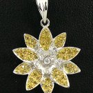 18K White Gold 0.07cts Diamond & 0.38cts Yellow Sapphire Pendant