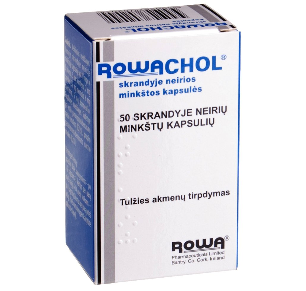 Rowachol Gastro-resistant Capsules N50. Breaking up of gallstones