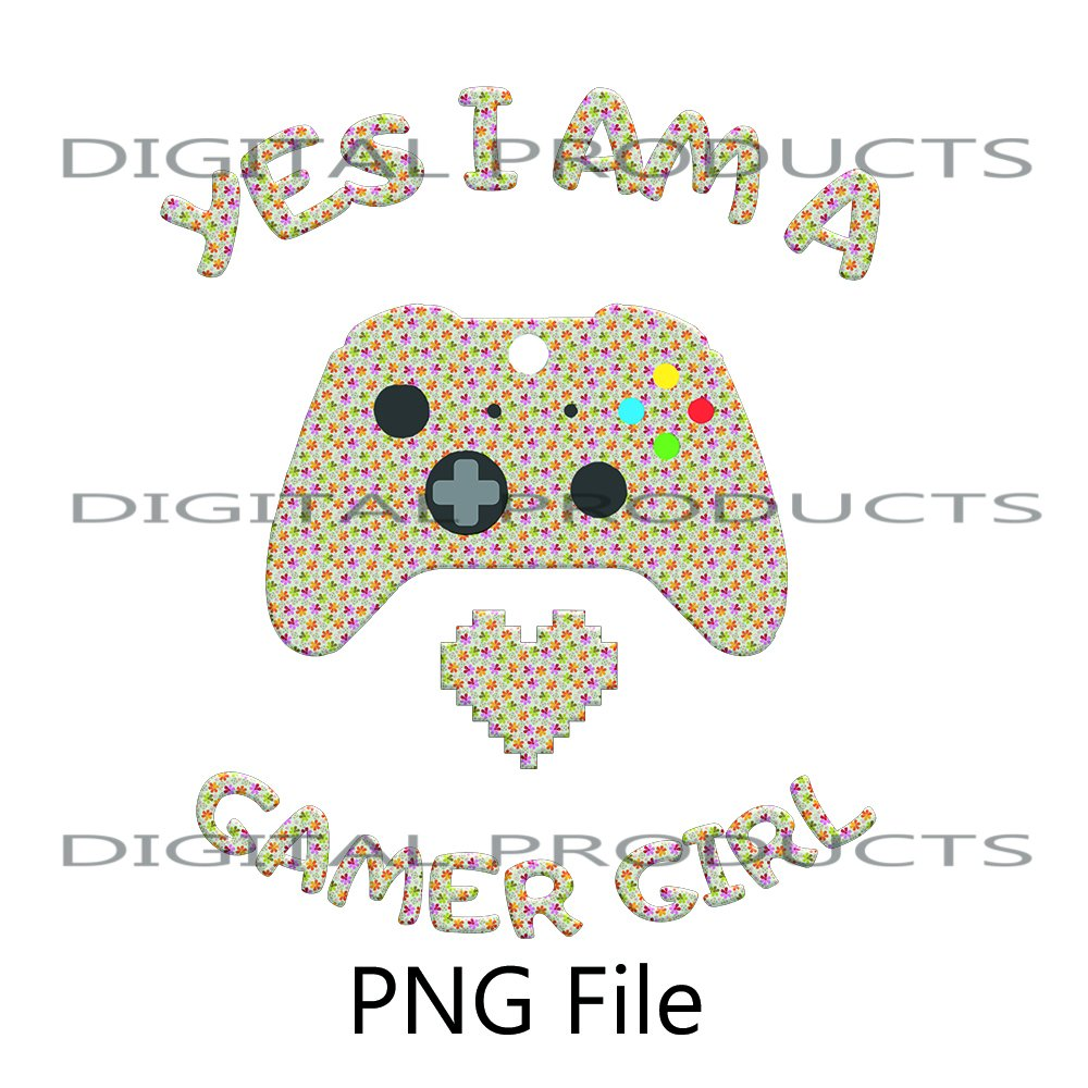 Yes i'am a Gamer Girl Gamepad with Little Colorful Stars Sublimation Digital Download PNG File