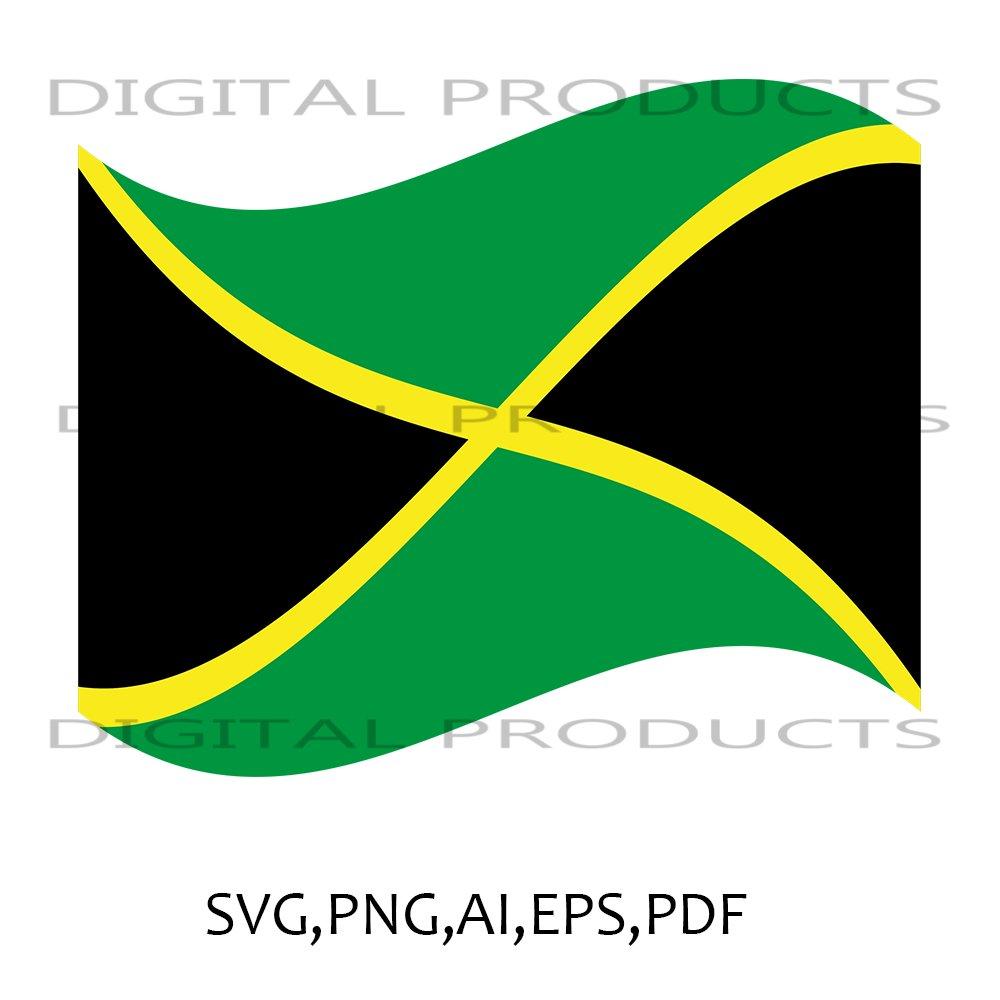 Jamaica Curved Flag Vector Graphics SVG,PNG,AI,PDF,EPS Sublimation Digital Download File