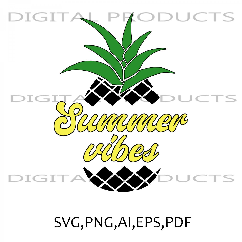 Summer Vibes Black Pineapple Vector Graphics SVG,PNG,AI,PDF,EPS Sublimation Digital Download