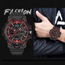 Red Men's Army Military Sport Dual Time Alarm Waterproof Digital Analog Watch