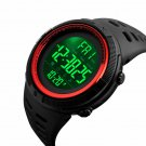 Red Men's LED Military Digital Calendar Sports Dual Time Waterproof Watch US