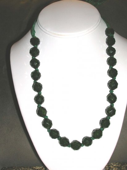 Green beaded and ribbon necklace