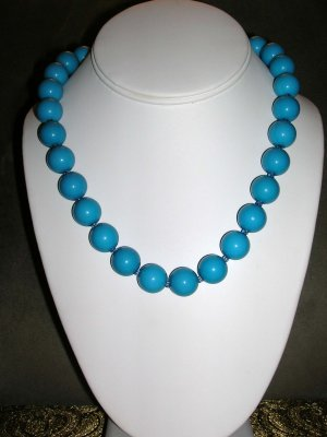 Blue large beaded necklace