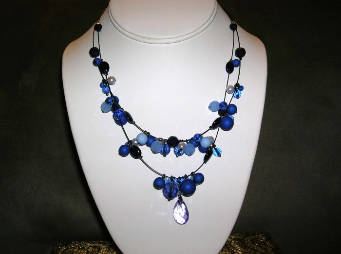 Blue beaded double strand necklace