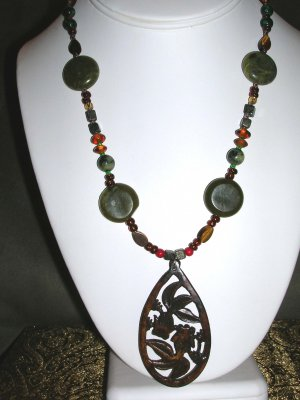 Wooden fish pendant necklace