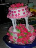 Rose/heart wedding cake
