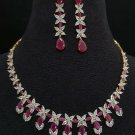 Golden Pink Ruby Stone Cubic Zirconia Bridal Necklace with Earrings