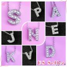 Silver Tone Alphabet Initial Letter Charm Necklace, CZ Pendant Birthday, Name,