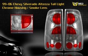 99-06 CHEVY SILVERADO ALTEZZA TAIL LIGHT CHROME/SMOKE