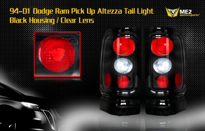 94-01 DODGE RAM ALTEZZA TAIL LIGHT BLACK CLEAR
