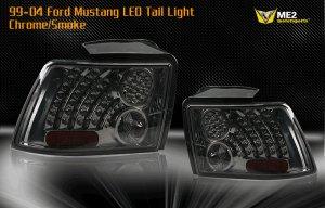 99-04 Ford Mustang LED Tail Light - CHROME SMOKE