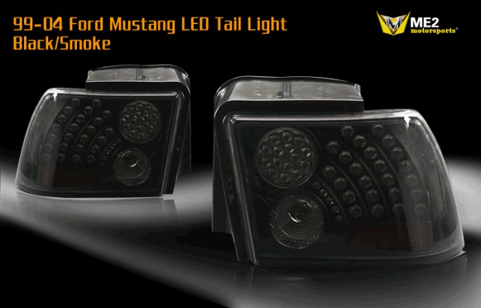 99-04 Ford Mustang LED Tail Light -BLACK SMOKE