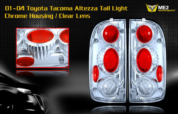 01-04 TOYOTA TACOMA ALTEZZA TAIL LIGHT JDM CHROME CLEAR