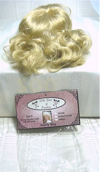 "Doll Wig ""Sandy"" by Trendcrafts: NIP Sz 9, Blonde Shoulder Length Hair"