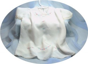 Dainty White Silk Baby Dress, Embroidered, Lace Trim, Vintage Piece, for a Beloved Doll