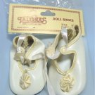 Tallina Doll Shoes:  Sz 4  White, Satin Ribbon Ties, Gathered Bow with Pearl on Toe