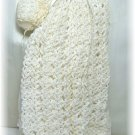 Ivory Crocheted Christening Gown for Very Small Doll:  NIP, Dress, Slip, Panties, Cap NIP