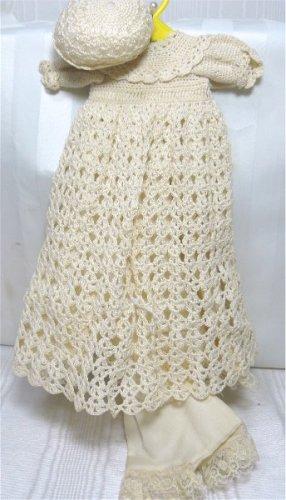 Candlelight Crochet Christening Dress, Very Small Doll: Dress/Slip/Panties/Cap, NIP