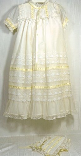 Angelic and Frothy White Christening Dress and Bonnet for Large Doll, Beautiful Work
