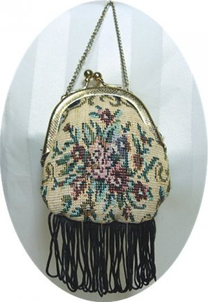 """Old-fashioned Look """"Needlepoint"""" Purse for a Large Doll:  Cute!"""