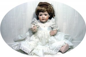 """20"""" All-porcelain Handcrafted Doll:  Brown Eyes, Dk Blonde Hair, White Dress"""