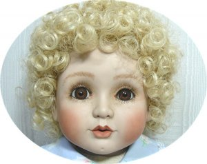"""20"""" Handcrafted Porcelain Doll:  Curly Blond Hair, Big Brown Eyes, Cute as a Button!"""