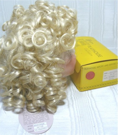 """Playhouse Doll Wig """"Heather"""":  Sz 14-15 Pale Blonde and Curly, NIB"""