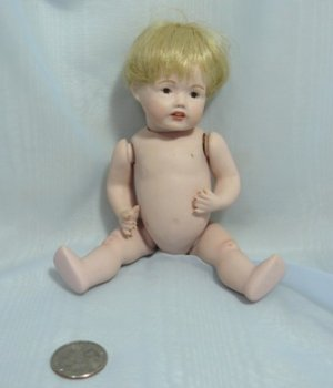 "Chubby Little All Porcelain Baby/Child Doll:  7-1/2"", Tiny Brown Eyes, Blonde Wig, Ready to Dress"