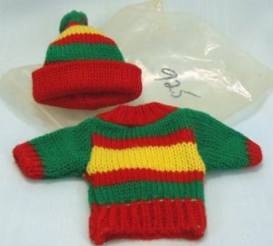 Red, Yellow, & Green Striped Knitted Sweater/Hat Set for Tiny Doll, Cute as a Button!
