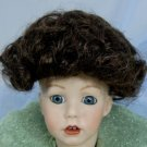 All-Over Curls in a Tallina Doll Wig, Sz 7, Dark Brown, Cute!