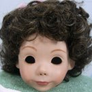 Tallina's Dark Brown Doll Wig W-63:  Sz 12,  Short Flippy Curls, Bangs, and Ribboned Topknot