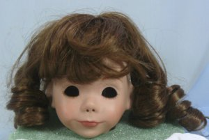 Cheri's Collection Doll Wig, Sz 8/9:  Dark Brown with Bangs and Loose Curls