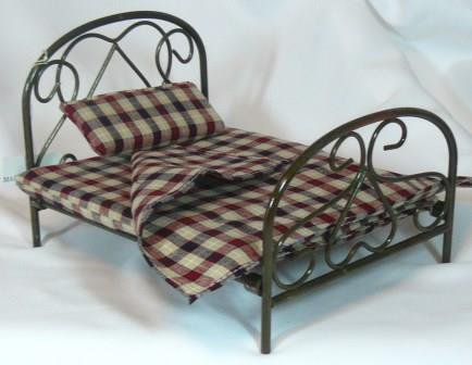 Great Antiqued Brass Bed, Plaid Bedding, Town Square Miniatures NIB Piece, NOS