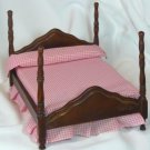 Miniature 4 Poster Bed and Night Stand Set, Tiny Pink Checked Bedding, NOS, NIB