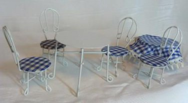 "White Painted Metal ""Wrought Iron""Patio Table/Chairs w/BlueChecked Cloth"