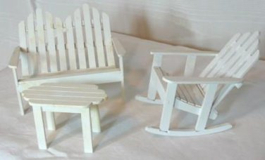 3 Piece Wooden Lawn Furniture Set, Double Seat, Rocker, Table
