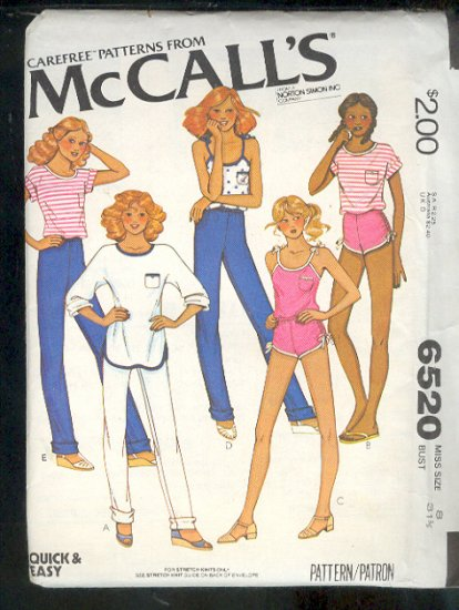 McCall's Sewing Pattern 6520 sports wear Size 8 Uncut