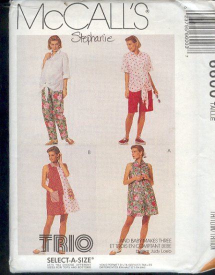 McCall's Sewing Pattern 6600 Maternity Rompers, Shirt, Pants and Shorts, Size 10 12 14