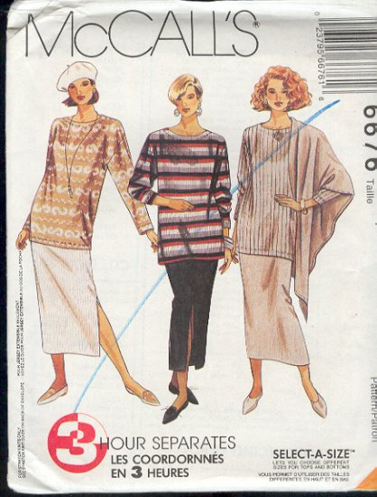 McCall's Sewing Pattern 6676  Top, Skirt  and Shawl, Size 4 - 14