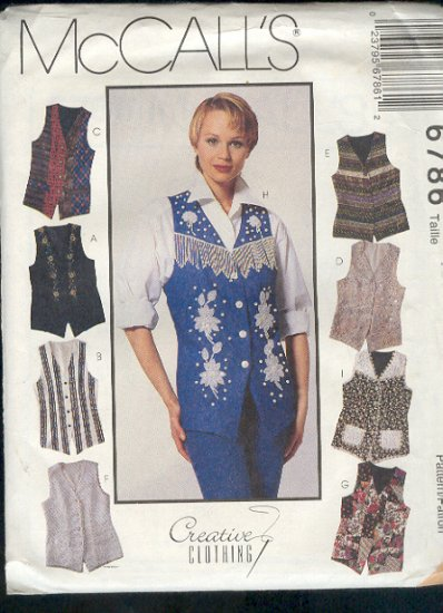 McCall's Sewing Pattern 6786 Variety of Vests, 8 versions, Size 4 6 8
