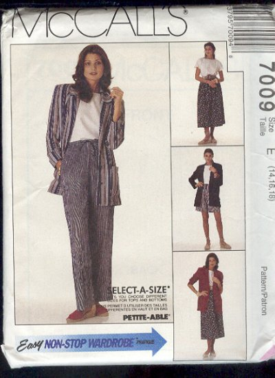 McCall's Sewing Pattern 7009 Unlined jacket, top, pants, skirt and shorts, Size 14 16 18