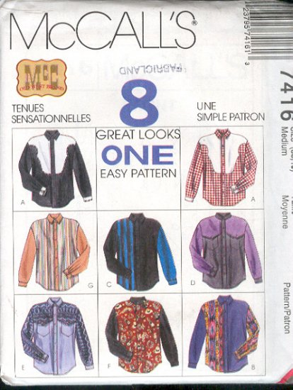 McCall's Sewing Pattern, 7416 Man's Shirt, 8 Variations, Size 38 - 40