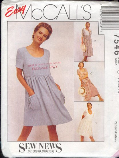 McCall's Sewing Pattern 7546 Dress in two lengths, nice for Maternity, Size 10 12 14